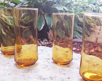 Vintage 1970s Libbey Amber Tall Tumblers (Set of 4) / Water Glasses