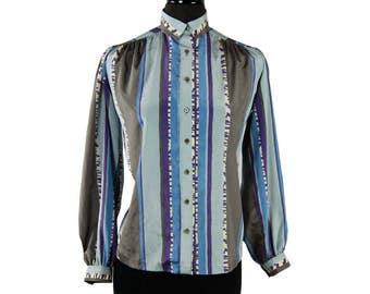 Vintage 1980s Gailord Gray / Blue / Purple / Ivory Striped Blouse (Size 6)