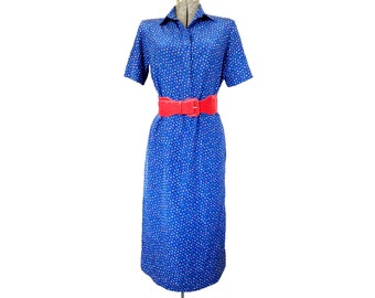 Vintage 1990s Handmade Blue Midi Dress with Multi-Colored Polka Dots / Red Belt