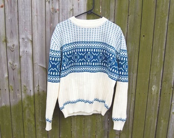 Vintage 1990s Cozy Sweater / Hardwood & Pine / Size L / Blue, Green, Ivory Pattern
