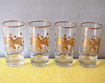 Vintage 1960s Gold Eagle & Stars Tumblers (Set of 4) / Gold Rim Glasses
