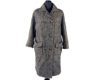 Vintage 1950s Oversized Double-Breasted Tweed Coat - Size Large / Gray and Copper Wool Long Handmade