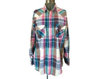 Vintage 1980s Saddlebrook Westernwear Plaid Western Snap Shirt (Size Large)