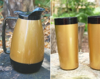 PITCHER ONLY // Vintage 1960s Thermo Serv Pitcher / Coffee Pot / Black and Gold Insulated Plastic