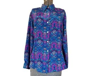 Vintage 1990s Halston Blouses Floral Polyester Blouse / Pink Blue Purple