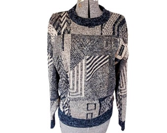 Vintage 1980s Le Tigre Heathered Black / Gray / Tan Geometric Sweater (L)