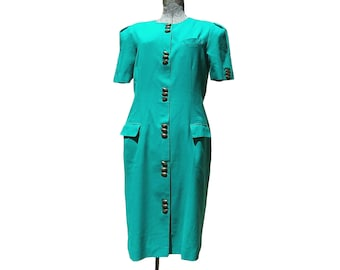 Vintage 1980s Halmode Petites Short Sleeve Teal Green Button Up Suit Dress (Size 14)