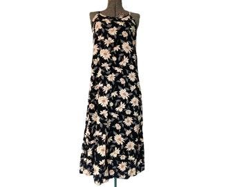 Vintage 1990s Miz California Black Floral Rayon Midi Dress (S)
