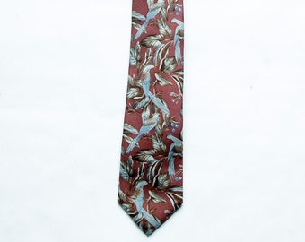 Vintage 1980s Damon Tropical / Parrot Bird Print Silk Necktie / Burgundy, Blue, Brown