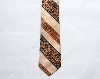 Vintage 1970s Golden Clasp by Prince Consort Beige, Copper, Brown, Gray, Black Tribal Print Necktie / Thunderbird Print