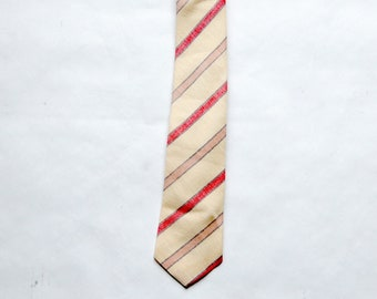 Vintage 1970s / 1980s Hardy Amies London Preppy Linen Diagonal Stripe Necktie