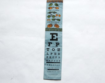 Vintage 1960s Baby Blue Cotton Square End Rooster Optician / Oculist / Eye Chart / Glasses Themed Necktie / Pop Art
