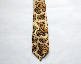 Vintage 1970s Regal Wool Groovy Paisley Necktie / Gold, Navy, Ivory, Orange