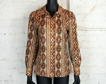 Vintage 1970s Indian Print Polyester Blouse / Brown, Rust, Tan / Act III