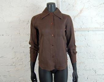Vintage 1960s Sheer Brown Big Collar Blouse (Small) / Button Up Top