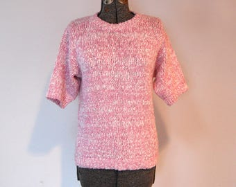 Vintage 1970s Devon Short Sleeve Pink & White Heathered Nubby Crew Neck Pullover Sweater