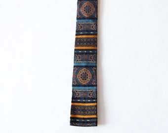 Vintage 1960s Primula Italian Skinny Tie / Square Tip Necktie / Blue, Gold, White Decorative Striped Retro Tie