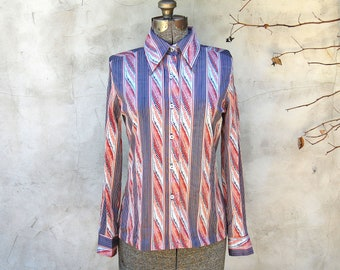 Vintage 1970s Two East Abstract / Striped Womens Silky Disco Shirt / Peach, Blue, Red (Size 9/10)