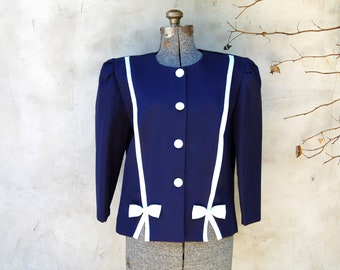 Vintage 1970s Good Times Cropped Navy Jacket / Blazer w/ White Bows & Trim (Size 12), 3/4 Sleeves