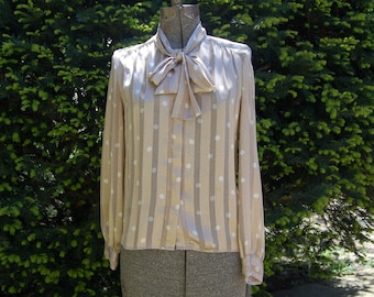 Vintage 1980s Haberdashery Collection by Personal Petites Beige / White Sheer Stripe & Dot Pussy Bow Tie Blouse (8)
