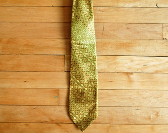 Vintage 1970s Wemlon Wembley Yellow and Brown Abstract Floral Wide Tie / Necktie