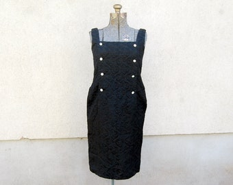 Vintage 1960s Black Brocade / Matelasse / Brocatelle Damask Sleeveless Double-Breasted Dress w/ Large Rhinestone Buttons