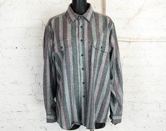 Vintage 1990s Fieldmaster Gray Neutral Striped Flannel Shirt (Size XL)