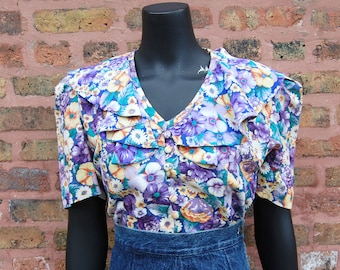 Vintage 1980s Leslie Fay Purple Floral Ruffle Collar Short Sleeve Button Front Blouse (12)