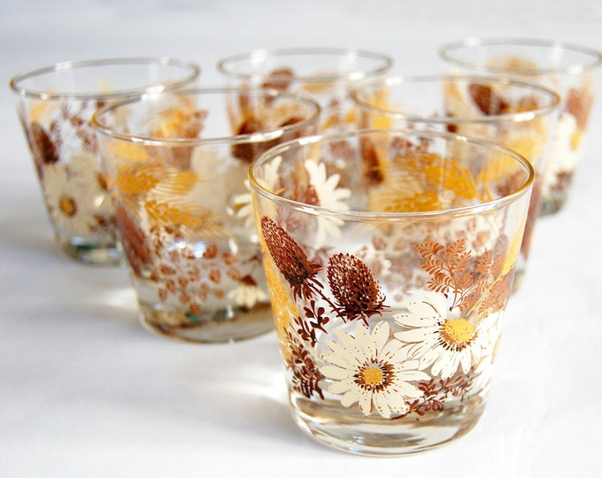 Featured listing image: Vintage 1970s Autumn Daisy Rocks Glasses / Set of 6 / Heavy Bottom Floral Fall Barware / Brown Coneflower & Golden Wheat
