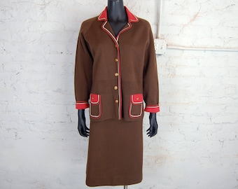 Vintage 1960s Knit Boutique Brown, Rust Red and White Knitted 2-Piece Jacket and Skirt / Vintage Size 18