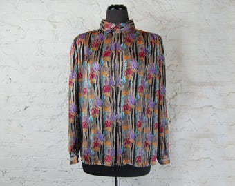 Vintage 1980s Floral and Striped Bright Multi Colored Blouse with Collar / Oversized Flowy Fit