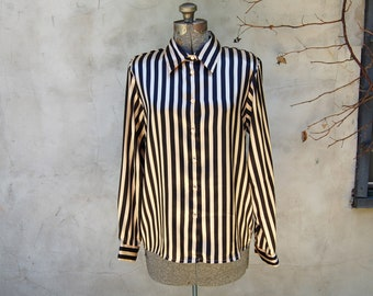 Vintage 1980s Yves St. Clair Gold / Black Striped Shiny & Silky Blouse w/ Fabric Covered Buttons (Size 12)