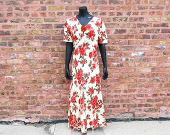 Vintage 1980s Carole Little for Saint-Tropez West Floral Red and White Back Tie Maxi Dress With Flower Pin (14) NWT