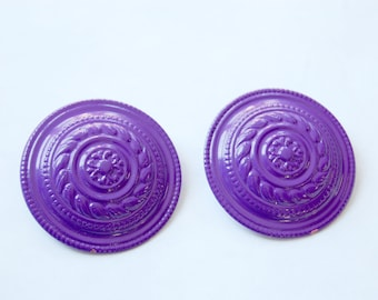 Vintage 1980s Violet Purple Large Circle Disc Stud Earrings / Retro Costume Jewelry