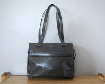 Vintage 1980s Jean Fogel Gray Leather Handbag with Tan Faux Suede Interior