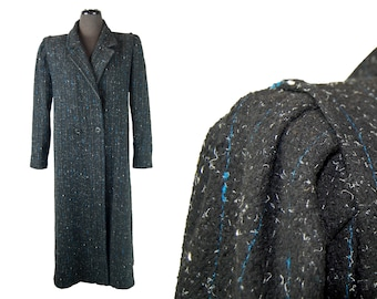 Vintage 1980s Miss New Yorker Salt & Pepper w/ Blue Flecks Wool Blend Coat (Size Medium)
