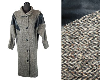 Vintage 1980s Women's Junior Colony Wool Tweed and Leather Coat
