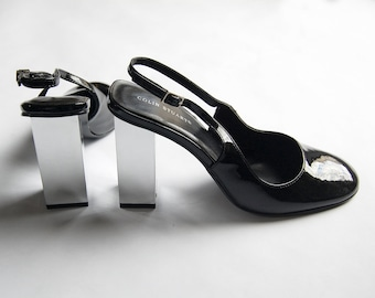 Vintage 1990s Colin Stuart Patent Black Shiny Leather Round Toe Sling Back Pumps with Chrome Mirrored Square Heels / Size 8