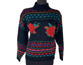 Vintage 1980s Black Sweater with Roses and Red Yellow Blue Green Geo Border Pattern / Size Medium / Mock Turtleneck