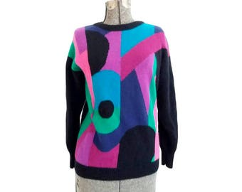 Vintage 1970s Donagain Bold Colorful Abstract / Geometric Lambswool and Angora Sweater (Size 8)