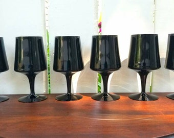 "Vintage 1970s Gorham Crystal ""Verve Black"" Amethyst / Black Water Goblet / Wine Glasses (Set of 6)"