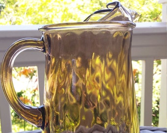 Vintage 1970s Tawny Brown Glass Pitcher