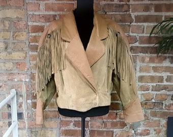 Vintage 1980s Tarazzia Sport Fringe Suede Leather Jacket / Beige / Tan / Camel Brown Western Coat