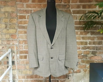 Vintage 1980s/1990s Burberrys Neutral Check / Houndstooth Wool Sport Coat / Jacket