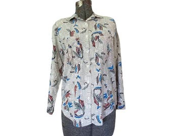 Vintage 1980s Cherokee Womens Abstract Tribal Print Shirt (Size Small) / Button Up Top