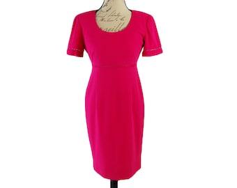 Vintage 1980s Liz Claiborne Hot Pink Empire Waist Dress (Size 4)