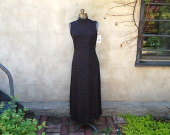 Vintage 1990s Ronni Nicole Black & Silver Stretchy Knit Sleeveless Mock Turtleneck Maxi Dress (Size 6)