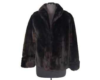 Vintage 1960s Brown Faux Fur Short Coat // Jacket