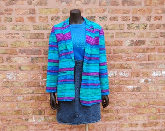 Vintage 1980s Michael & Co. Purple, Blue, Green Striped Blazer / Jacket (Size 8)