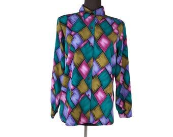 Vintage 1990s Joanna Bold Purple, Green, Brown and Rose Geometric Print Blouse (Size Medium)